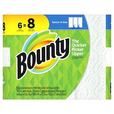 Bounty 2-Ply Select-A-Size Paper Towels 6=8, White, 74 Sheets/RL, 6/PK