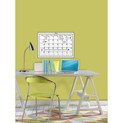 """WallPops! Peel-N-Stick Dry-Erase Calendar, 24"""" x 17 1/2"""", English 24""""X 17.5""""  PEEL & STICK MARKER WITH ERASER INCLUDED"""