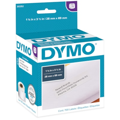 """DYMO LabelWriter Address Thermal Labels, White, 1 1/8"""" x 3 1/2"""", 350 Labels/Roll, 2 Rolls/BX 350 LABELS PER ROLL DYMO COSTAR"""