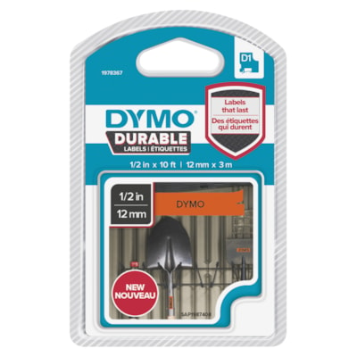 DYMO D1 Durable Label Cassette, Black Ink/Orange Tape, 12 mm x 3 m INDORS/OUT.DISHWSHR RESITANT