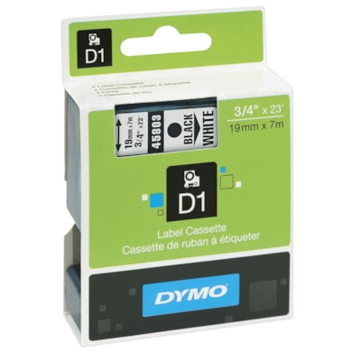 DYMO D1 Label Cassette, Black Type/White Tape, 19 mm x 7 m FOR ELECTR.LABELMAKER  19MM FOR DYMO 5500 MODEL  23FT.