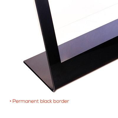 "Deflecto Superior Image Black Border Slanted Sign Holder SIGN HOLDER  CLEAR W/ BLACK BORDER/FRAME 8-1/2"" X 11"" X 7"""