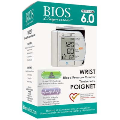 BIOS Living Precision Series 6.0 Wrist Blood Pressure Monitor TIME  DATE