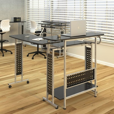 Safco Scoot Shift Standing-Height Desk with Rotating Work Surface DESK PLUS ROTATING WORK SURFAC BLACK