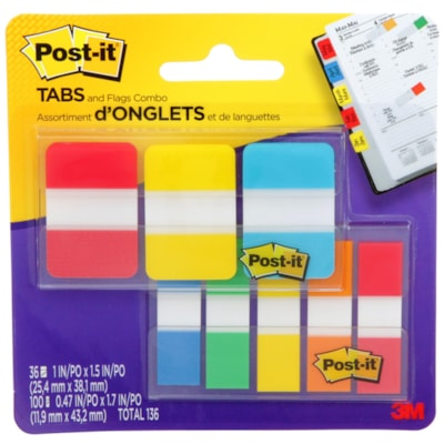 Post-it Flags and Tabs Combo Pack, Assorted Colours and Sizes, 136 Flags 686-COMBO1-EF ASSORTED SIZES