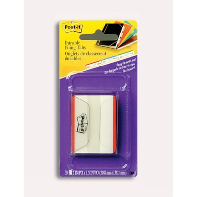 """Post-it Durable Filing Tabs with Red Colour Bars, 2"""", 50/PK RED 50 TABS/PACK"""