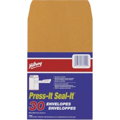 HILROY PRESS-IT SEAL-IT ENVELOPPES AUTO-ADHÉSIVES KRAFT - 5-7/8 X 9 PO - 30/PAQ