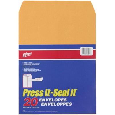 HILROY PRESS-IT SEAL-IT ENVELOPPES AUTO-ADHÉSIVES KRAFT - 10 X 13 PO - 20/PAQ