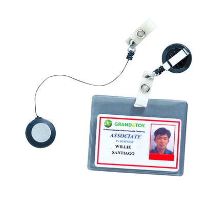 GBC BadgeMates Retractable ID Badge Holders, Package of 5 2 BLK 2 BLU AND 1 GREY 5/PK