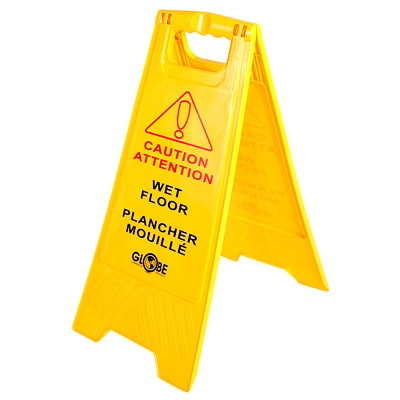 Globe Commercial Products English/French Wet Floor Sign ENGLISH/FRENCH WET FLOOR SIGN EASY TO PUT UP QUICKLY