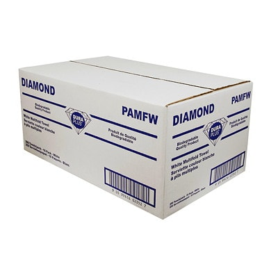"""Dura Plus 1-Ply Diamond Multifold Hand Paper Towels, White, 250 Sheets/PK, 16/CT HAND TOWELS 250 SHEETS X 9 """" BIODEGRADABLE QUALITY PRODUCT"""