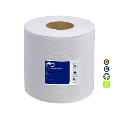 """Tork 2-Ply Advanced Soft Centerfeed Hand Paper Towels, White, 590', 6/CS WHITE 2-PLY 7.6""""X492' 500 SHEETS/ROLL"""