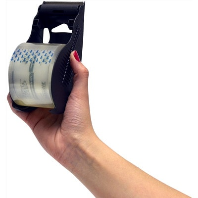 Earth Hugger Bandit Shipping Tape with Grey Dispenser, Clear 2IN X 55YDS 100% POST-CONSUMER PLASTIC