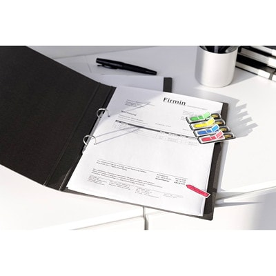 """Post-it Preprinted Arrow Message Flags, With On-The-Go Dispenser, Assorted Bright Colours, 1/2"""" x 1 7/10"""", 100 Flags/PK"""
