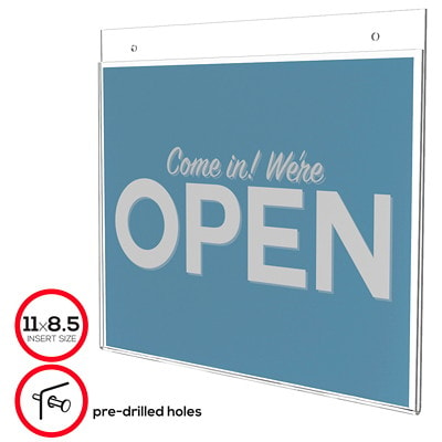 """Deflecto Classic Image Landscape Wall-Mount Sign Holder, Clear, 11"""" x 8 1/2"""" 11 X 8.5 PREDRILLED HOLES FOR MOUNTING"""