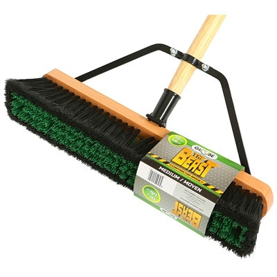"""Globe Commercial Products Assembled 18"""" Push Broom 1""""THICK HARDWOOD BLOCK INCL. BRACE FOR ADDED STRENGTH"""