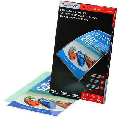 Pochettes transparentes de format lettre pour plastification thermique LongLife EZUse GBC Swingline EZUSE 5 MIL  FLÈCHES DIRECTIONNELLES  EMB. DE 100