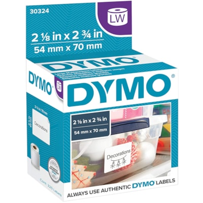 """DYMO LabelWriter Large Multi-Purpose Thermal Labels, White, 2 1/8"""" x 2 3/4"""", 320 Labels/BX 320 LABELS PER ROLL"""