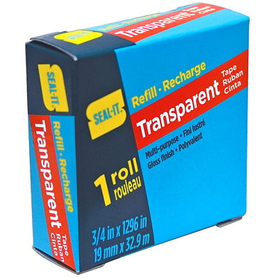 "Seal-It Transparent Tape Refill, Glossy Finish, 3/4"" x 108', Single Roll TRANSPARENT"