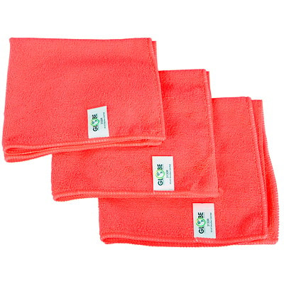 "Globe Commercial Products Microfibre Cloths, Red, 16"" x 16"", 10/PK WITHSTANDS HUNDREDS OF WASHES GREEN CLEANING -  240GSM"