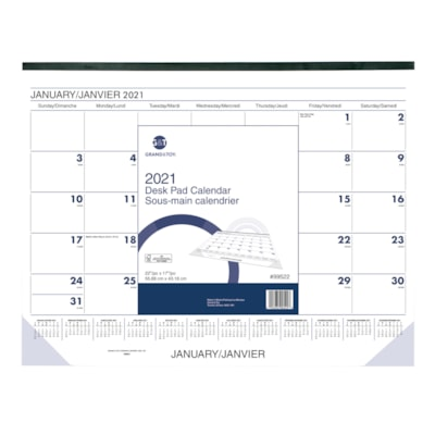 "Grand & Toy 13-Month Monthly Desk Pad Calendar, 22"" x 17"", January - January, Bilingual 13 MONTHS BILINGUAL"