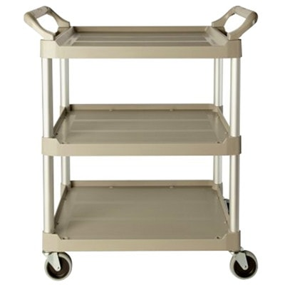"""Rubbermaid Commercial 3424-88 Economy Utility Cart with 4"""" Swivel Casters, Platinum, 200 lb. Capacity, 33 5/8""""L x 18 5/8""""W x 37 3/4""""H BRUSHED ALUMINUM UPRIGHTS CAPACITY  200LBS"""