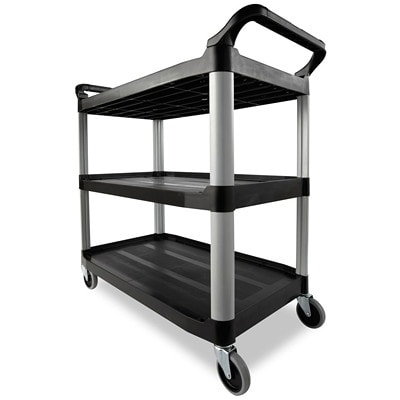 Rubbermaid Commercial Xtra 4091 3-Shelf Open-Sided Utility Cart, Black, 300 lb. Capacity UTILITY CART  OPEN SIDED