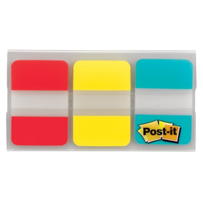 """Post-it Durable Tabs, Red/Yellow/Blue, 1"""" x 1/2"""", 22 Tabs/Colour, 66 Tabs/PK REMOVABLE AND REPOSITIONABLE YEL/RED/BLU-22 EACH COLOUR"""