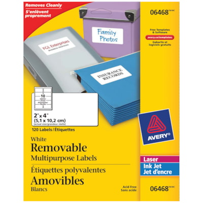 """Avery 6468 Removable Multi-Purpose Labels, White, 2"""" x 4"""", 10 Labels/Sheet, 12 Sheets/PK WHITE  REMOVABLE 120 LABELS LASER & INK JET"""
