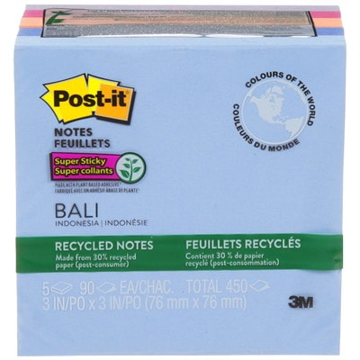 """Post-it Super Sticky Recycled Notes In Bali Colour Collection, Unlined, 3"""" x 3"""", 90 Sheets/Pad, 5 Pads/PK 3X3 NATURAL EARTH TONE 5 PADS PER PACK  SFI CERTIFIED"""