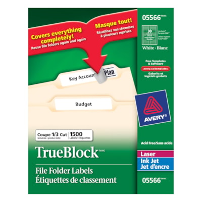 "Avery 5566 Filing Labels With TrueBlock Technology, White, 3 7/16"" x 2/3"", 30 Labels/Sheet, 50 Sheets/PK 3-7/16X2/3 30LBLS/SHT 1500/PK 50SHT/PK"