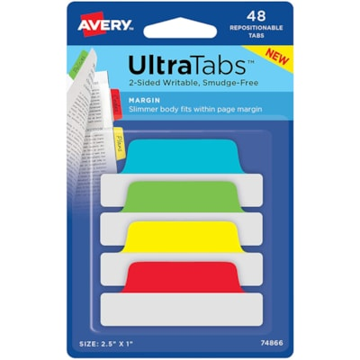 """Avery UltraTabs Repositionable Page Margin Tabs, Assorted Primary Colours,  2 1/2"""" x 1"""", 48/PK PK/48  TWO SIDED  WRITABLLE"""