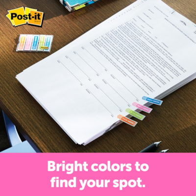"""Post-it """"Sign Here"""" Message Flags, Assorted Colours, 1/2"""" x 1 7/10"""", 120 Flags/PK OF RED BLUE YELLOW & GREEN"""