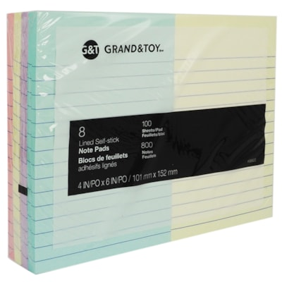 """Grand & Toy Self-Stick Notes, Assorted Pastel Colours, Lined, 4"""" x 6"""", 100 Sheets/Pad, 8/PK 100 SHEETS/PAD 8PK 8 PADS/PACK"""