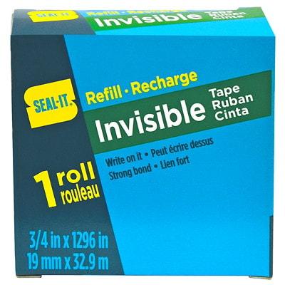"Seal-It Invisible Tape Refill, Matte Finish, 3/4"" x 108' INVISIBLE"