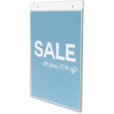 """Deflecto Classic Image Portrait Wall-Mount Sign Holder, Clear, 8 1/2"""" x 11"""" 8 1/2 X 11 PREDRILLED HOLES FOR MOUNTING"""