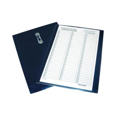 Enveloppe en poly pour courrier interne avec feuille d'acheminement préimprimée de format légal (8 1/2 po x 14 po) Winnable COURRIER INTERNE AVEC DEUX FEUILLES AVEC NOMS BLEU SOMBRE