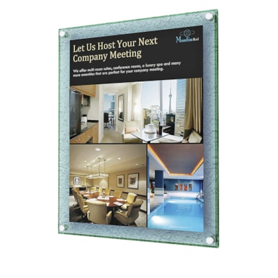 """Deflecto Superior Image Beveled Edge Wall Mounted Sign Holder 11X8.5"""" WALLMOUNT PORTRAIT OR LANDSCAPE W/GREEN TINTED EDGE"""