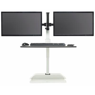 ELEC DESKTOP SIT/STAND   DUAL WHITE