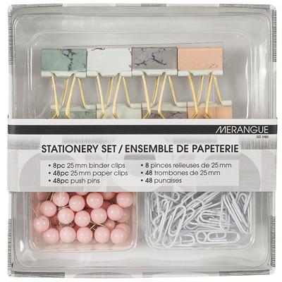 Merangue Clips and Pins Stationary Set, Pastel Colours, 104 Pieces/ST  104 PC SET PASTEL COLOURS