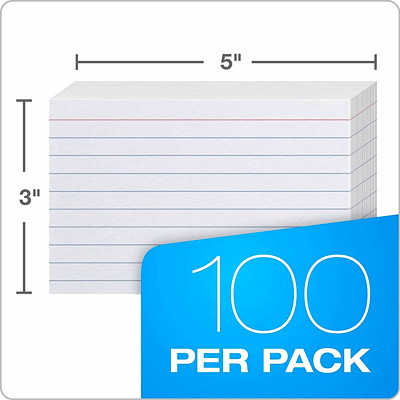 "Oxford Printable Index Cards, Ruled, 3"" x 5"", 100/PK MEDIUM WEIGHT"