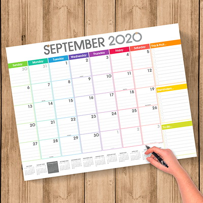 "TF Publishing 12-Month Academic Monthly Desk Calendar, 17"" x 22"", Rainbow Blocks, July 2020 - June 2021, English 22 X 17 DESK PAD CALENDAR JULY 2020 - JUNE 2021"