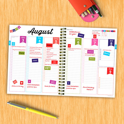 """TF Publishing 12-Month Medium Academic Weekly/Monthly Planner, 6 1/2"""" x 8"""", Rainbow Paint, July 2020 - June 2021, English PLANNER JULY 2020 - JUNE 2021"""