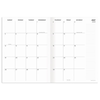 "TF Publishing 12-month Academic Monthly Planner, 7 1/2"" x 10 1/4"", Charcoal, July 2020-June 2021, English  7.5 X 10.25 MONTHLY PLANNER JULY 2020 - JUNE 2021"