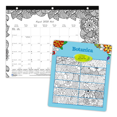 "Blueline 12-Month Botanica Design Academic Colouring Desk Pad Calendar, 11"" x 8 1/2"", August 2020 - July 2021, Bilingual  AUG TO JULY BOTANICA DESIGN  BILINGUAL"