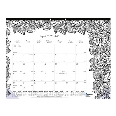 "Blueline 12-Month Botanica Design Academic Colouring Desk Pad Calendar, 22"" x 17"", August 2020 - July 2021, Bilingual  AUG TO JULY BOTANICA DESIGN  BILINGUAL"