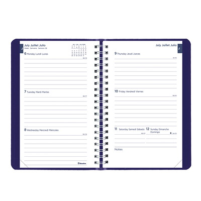 """Blueline 13-Month Weekly/Monthly Academic Planner, 8"""" x 5"""", Blue, July 2020 - July 2021, Trilingual 13-MONTH  TRILINGUAL 8 X 5  BLUE"""