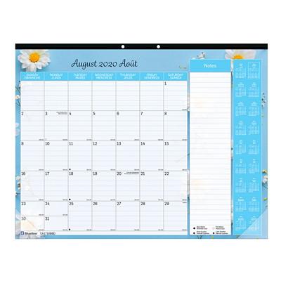 "Blueline 18-Month Academic Colourful Monthly Desk Pad, 22"" x 17"", Spring Design, July 2020 - December 2021, Bilingual FLORAL DESIGN 22 X 17  BILINGUAL"