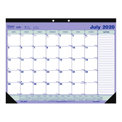 """Blueline 13-Month Academic Monthly Desk Pad Calendar, 21 1/4"""" x 16"""", July 2020 - July 2021, English PAD 21-1/4""""X16"""" JULY-JULY ENG."""
