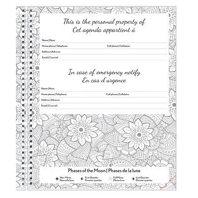 "Blueline 12-Month DoodlePlan Weekly/Monthly Academic Planner, 10 1/4"" x 7 5/8"", Botanica Design, August 2020 - July 2021, Bilingual BOTANICA DESIGN 10-1/4 X 7-5/8  BILINGUAL"